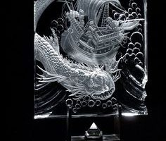 Glass laser engraved - piece of art