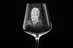 Glass laser photo engraved picture