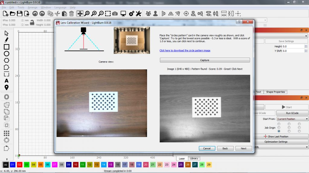 Adding a camera for positioning the sample in Lightburn software