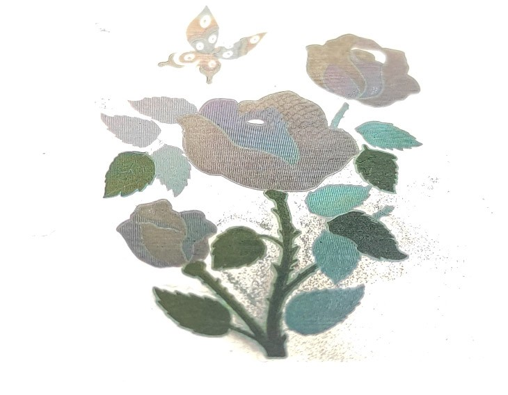 Color stainless steel engraving - flower