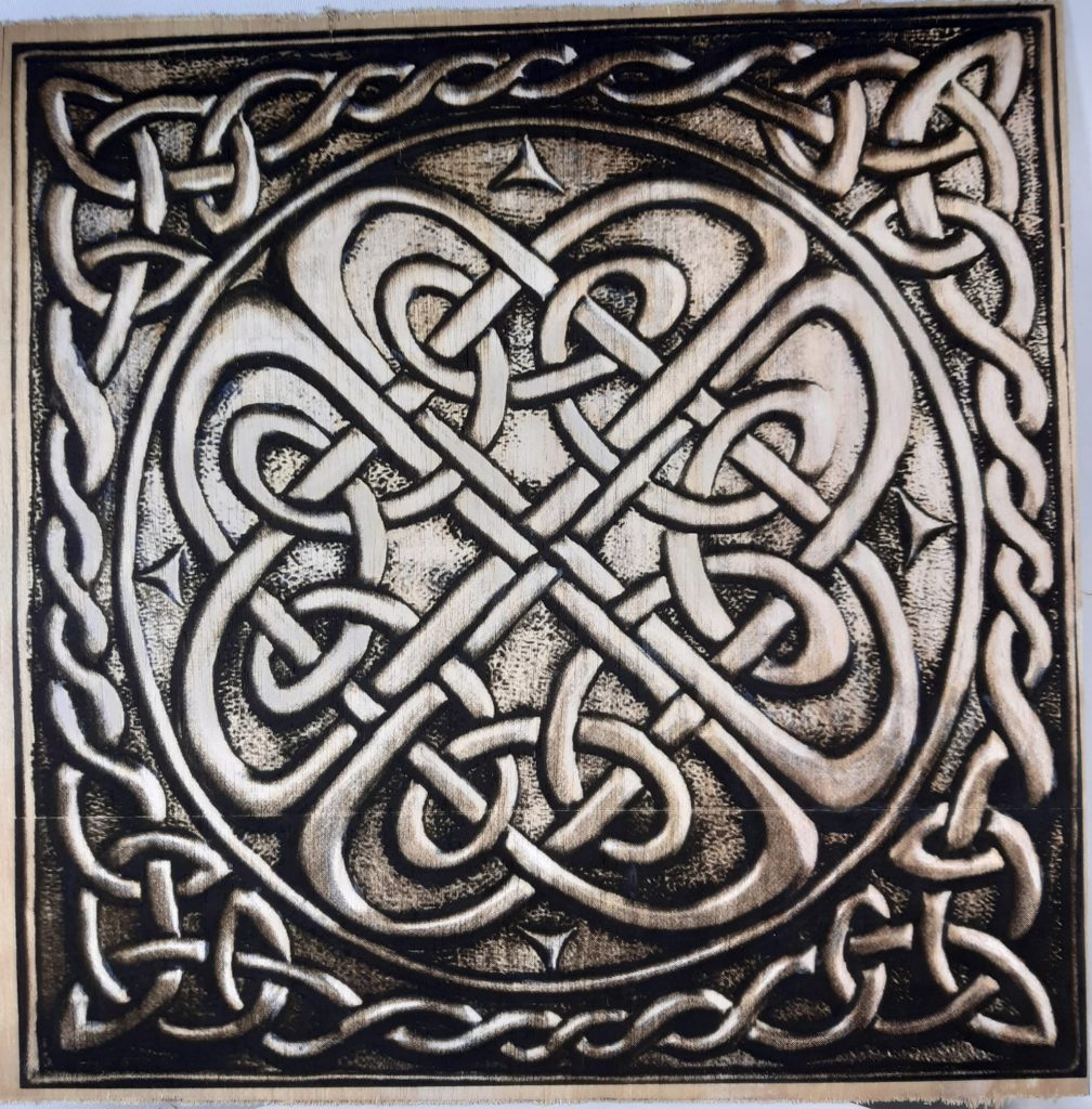 I was wondering if it was possible to copper-plate a piece of plywood with a celtic knot