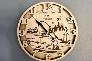 """Made my son a clock! He loves fishing Made with a 10w Deluxe Endurance laser on an Ortur LM2 FrameMultiple layers of 1/4"""" birch"""