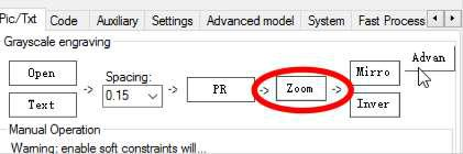 Set the image size in mm using Zoom